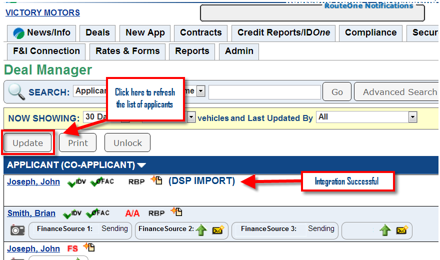 Credit Decision Callback Page The credit decision is automatically exported from RouteOne into the CRM.