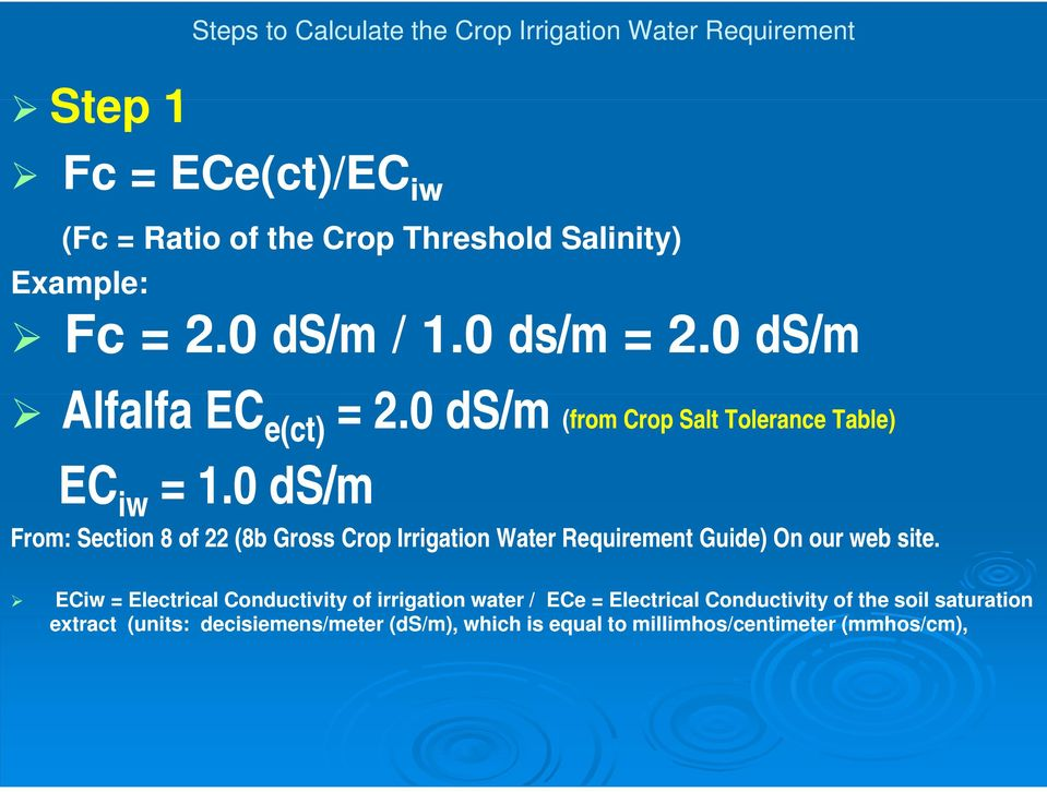 0 ds/m From: Section 8 of 22 (8b Gross Crop Irrigation Water Requirement Guide) On our web site.