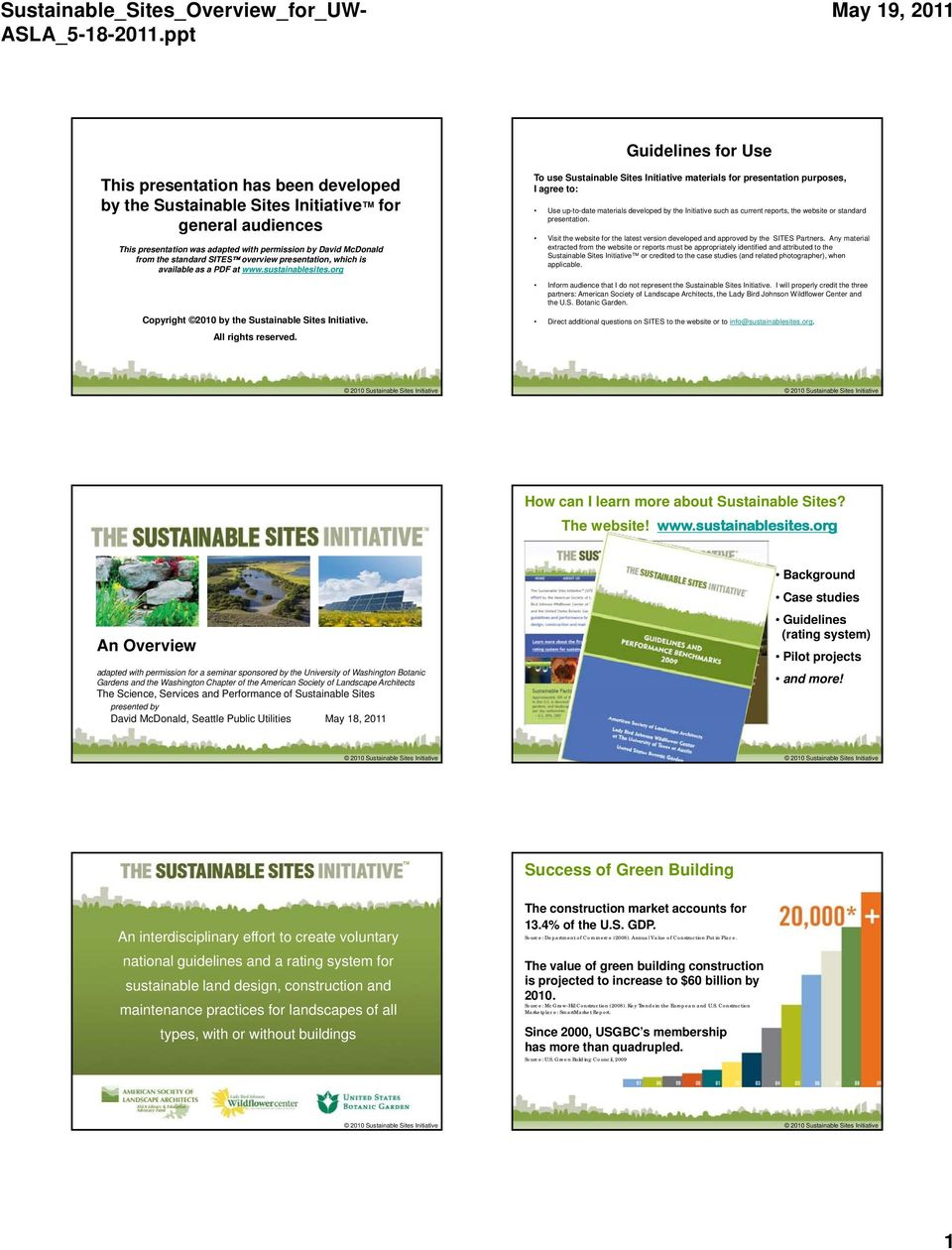 Guidelines for Use To use Sustainable Sites Initiative materials for presentation purposes, I agree to: Use up-to-date materials developed by the Initiative such as current reports, the website or