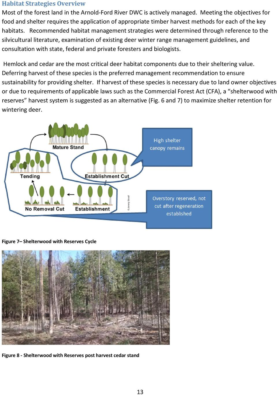 Recommended habitat management strategies were determined through reference to the silvicultural literature, examination of existing deer winter range management guidelines, and consultation with