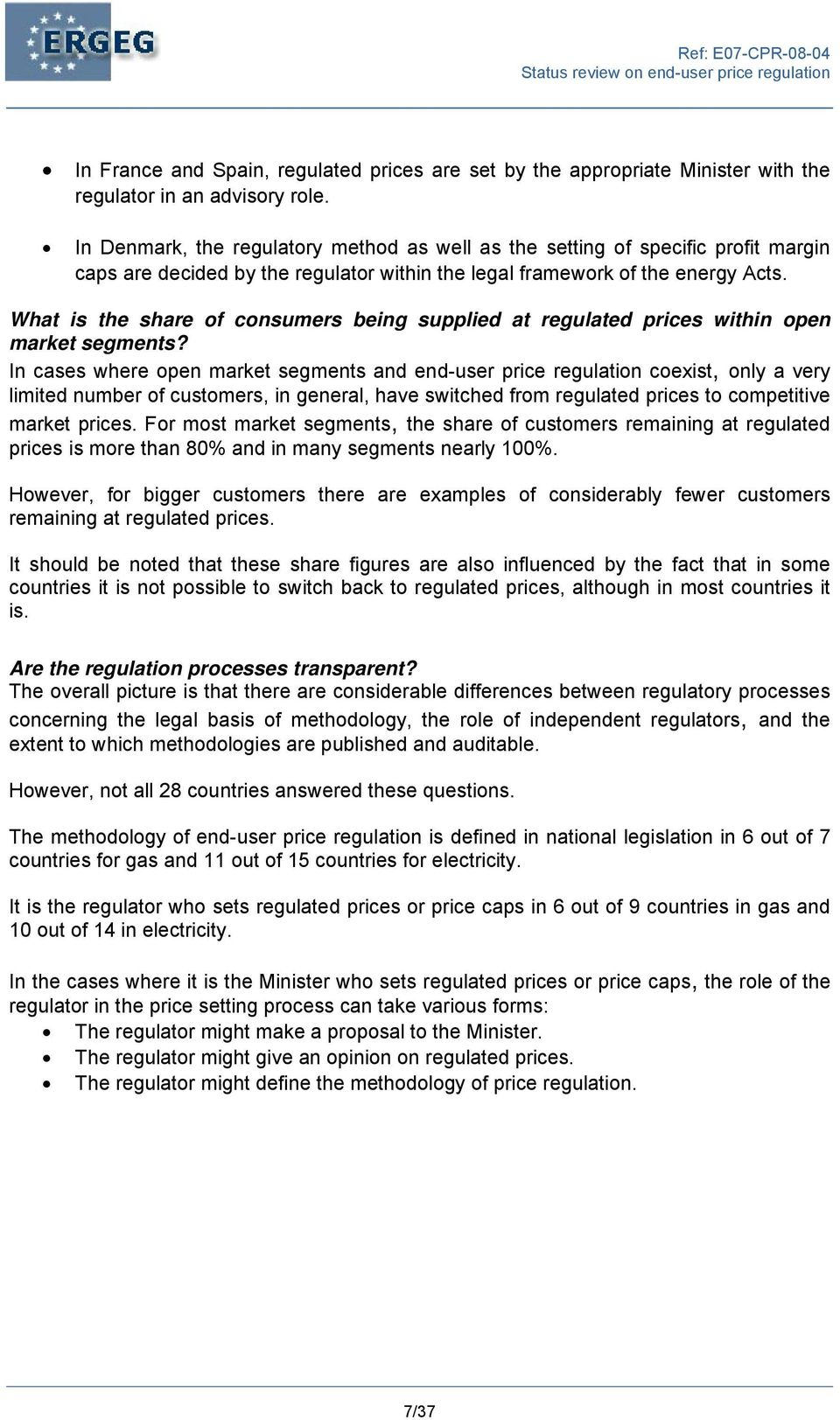 What is the share of consumers being supplied at regulated prices within open market segments?