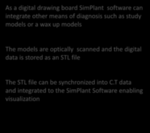 synchronization of study models As a digital drawing board SimPlant software can integrate other means of diagnosis such as study models or a wax up models The models are