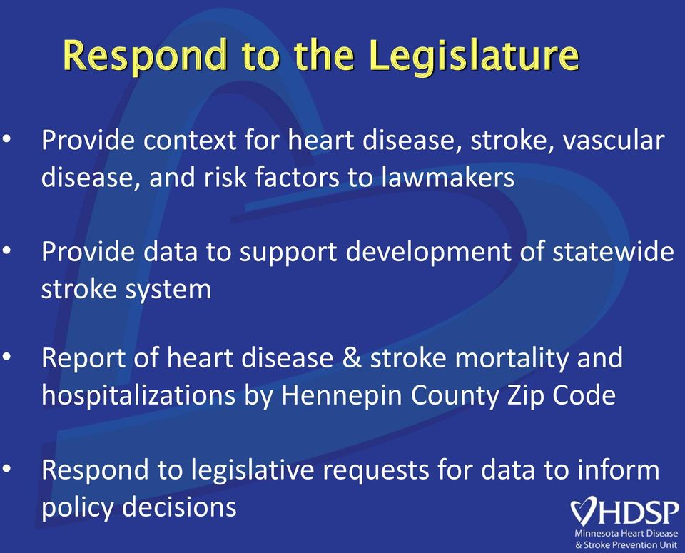 statewide stroke system Report of heart disease & stroke mortality and