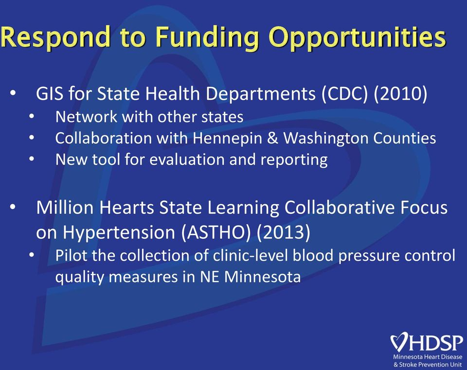 reporting Million Hearts State Learning Collaborative Focus on Hypertension (ASTHO) (2013)