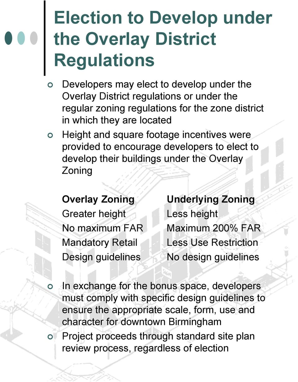 No maximum FAR Mandatory Retail Design guidelines Underlying Zoning Less height Maximum 200% FAR Less Use Restriction No design guidelines In exchange for the bonus space, developers must