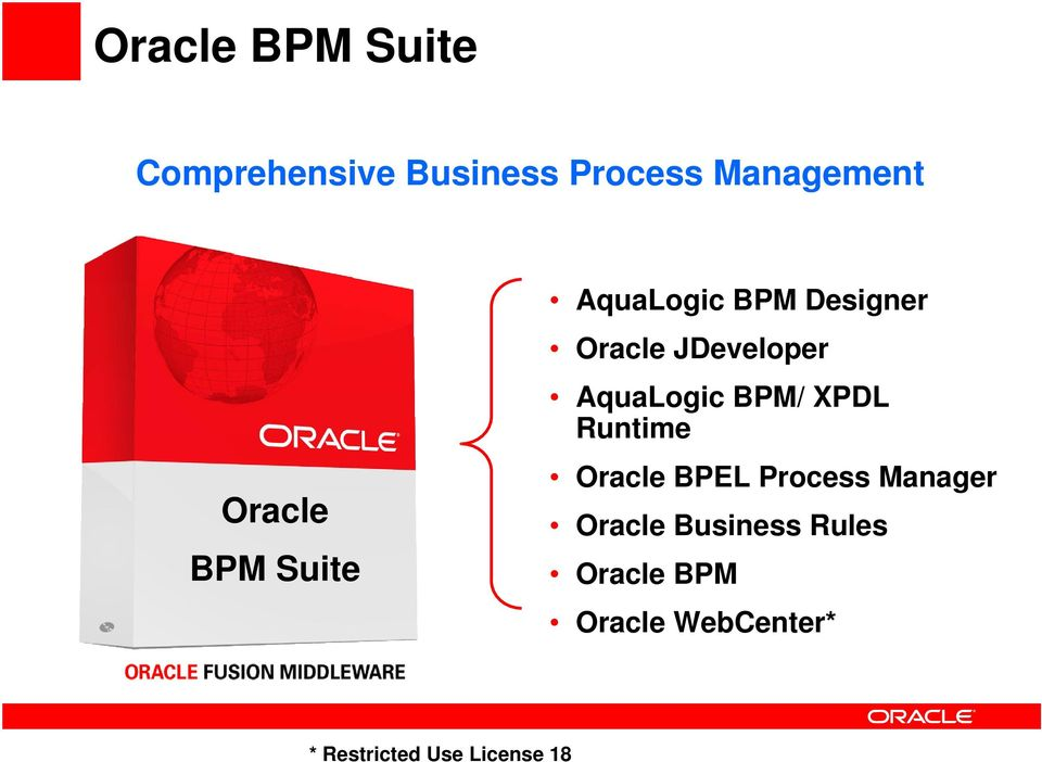 AquaLogic BPM/ XPDL Runtime Oracle BPEL Process Manager Oracle