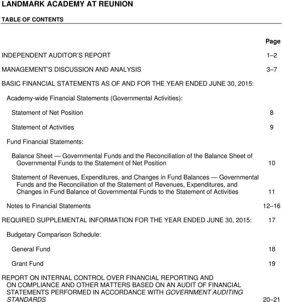 of the Balance Sheet of Governmental Funds to the Statement of Net Position 10 Statement of Revenues, Expenditures, and Changes in Fund Balances Governmental Funds and the Reconciliation of the