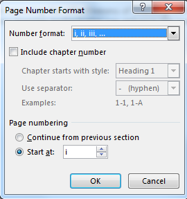 4 Change Page Number format Contents pages in a thesis are usually numbered differently from the rest of the document. For example using i, ii, iii format instead of 1, 2, 3.