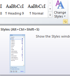 Styles and Formatting Figure 1-1 The Styles Pane 1.4 Applying Styles Heading 1 should be used for all chapter titles.