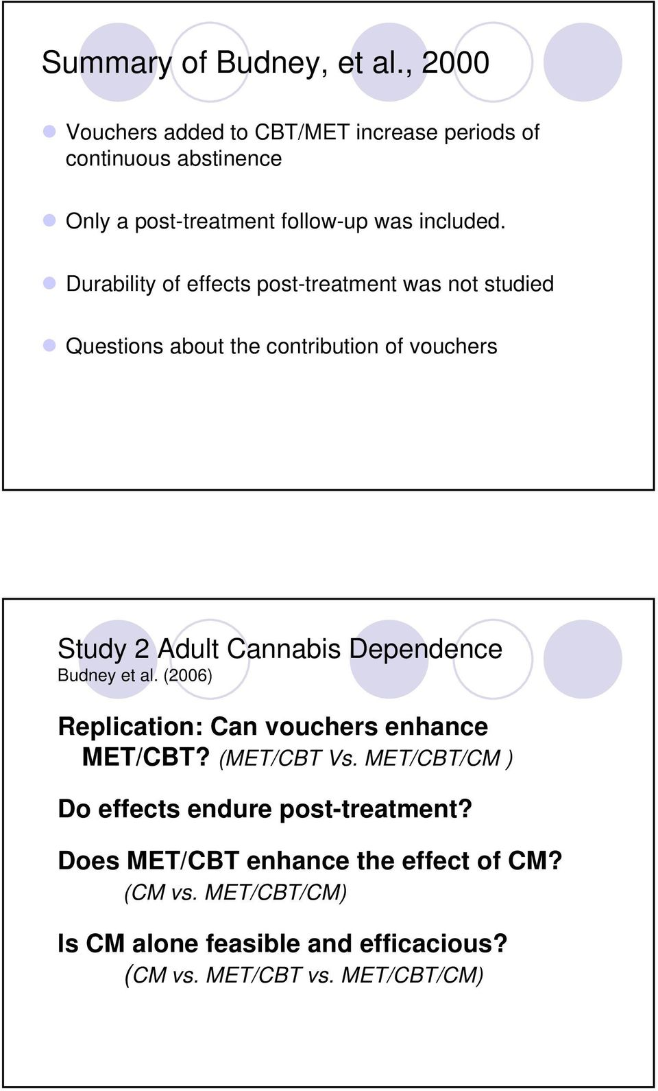 Durability of effects post-treatment was not studied Questions about the contribution of vouchers Study 2 Adult Cannabis Dependence
