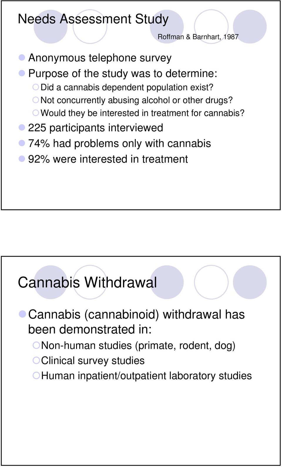 225 participants interviewed 74% had problems only with cannabis 92% were interested in treatment Cannabis Withdrawal Cannabis