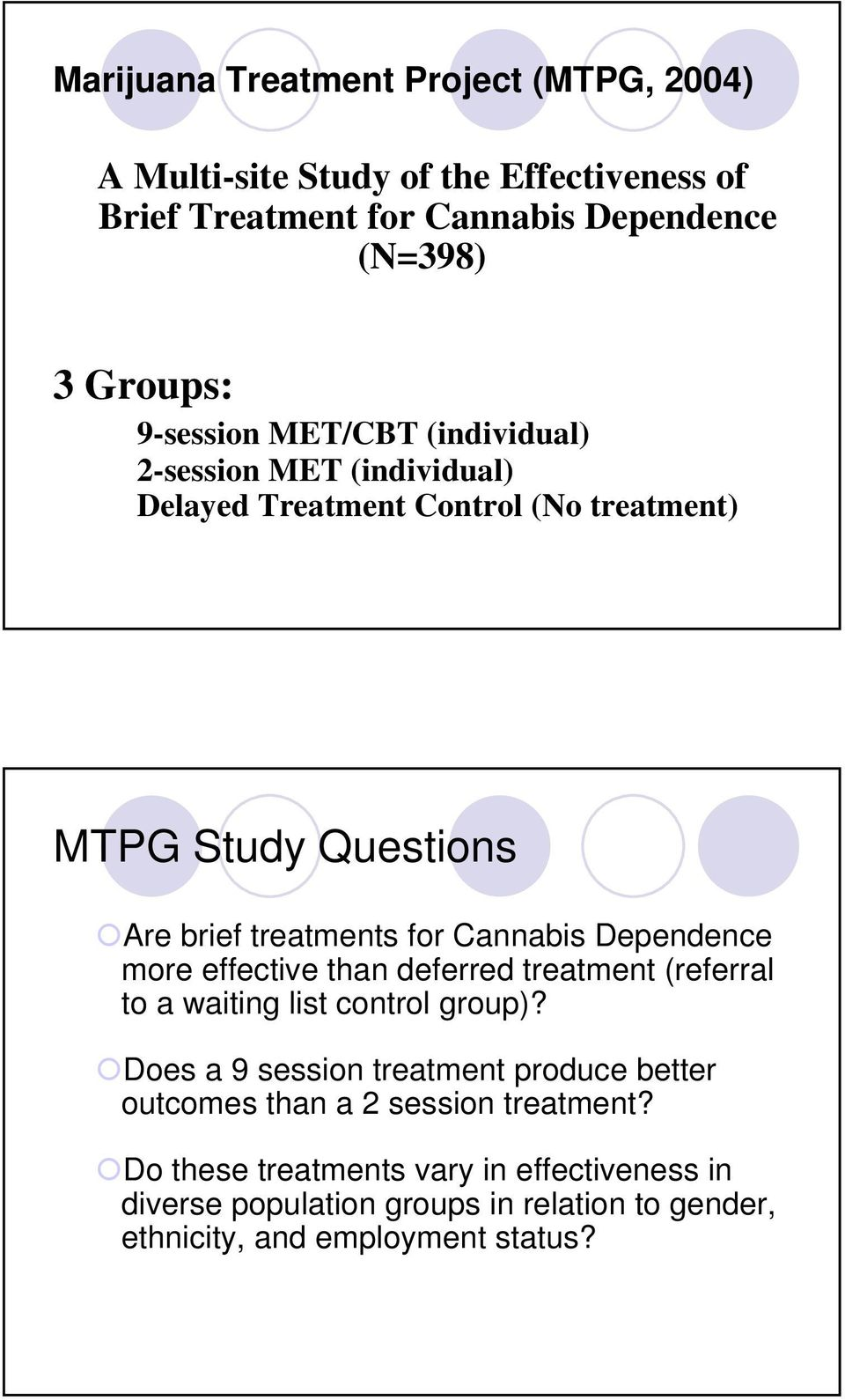Cannabis Dependence more effective than deferred treatment (referral to a waiting list control group)?