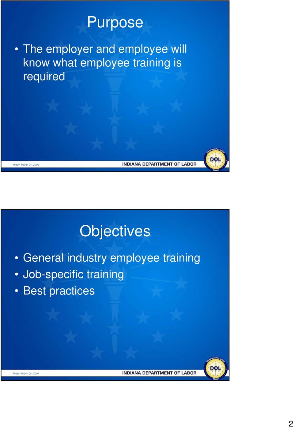 Objectives General industry employee