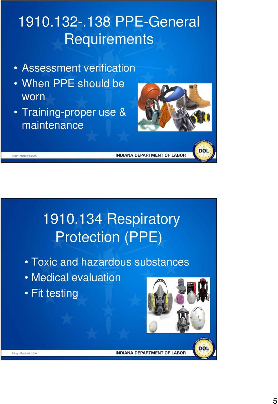When PPE should be worn Training-proper use &