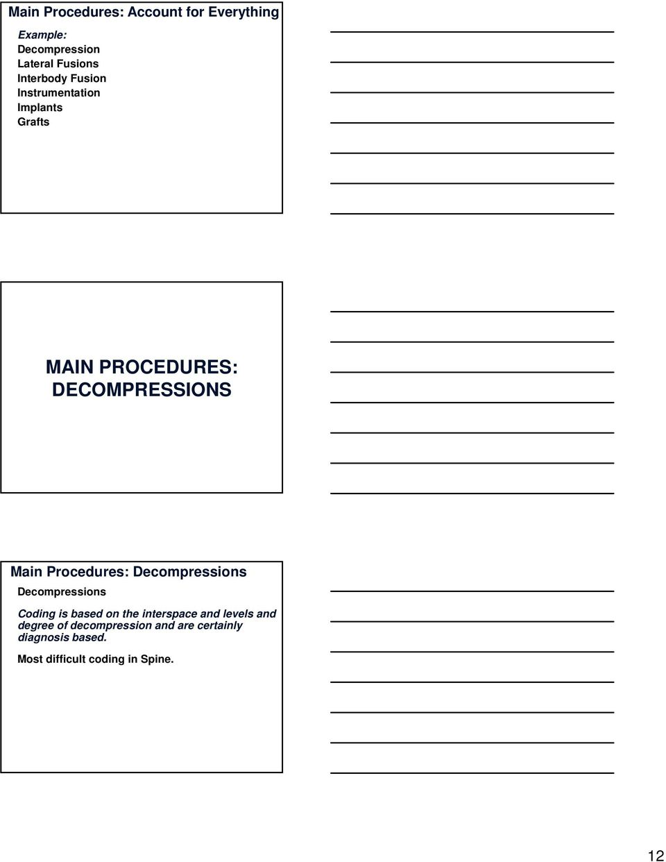 Procedures: Decompressions Decompressions Coding is based on the interspace and levels