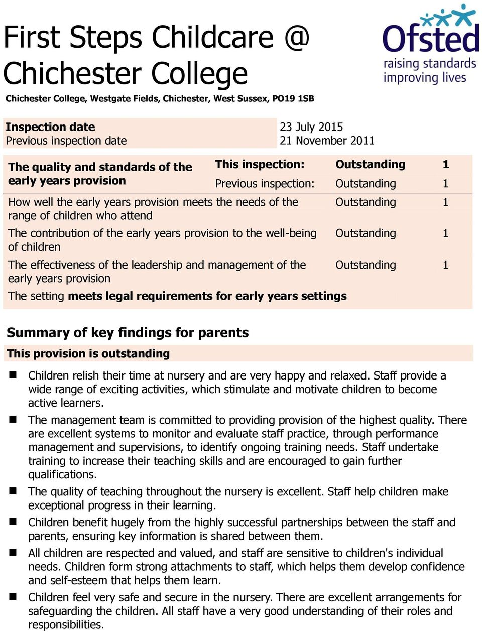 children The effectiveness of the leadership and management of the early years provision This inspection: Previous inspection: The setting meets legal requirements for early years settings Summary of