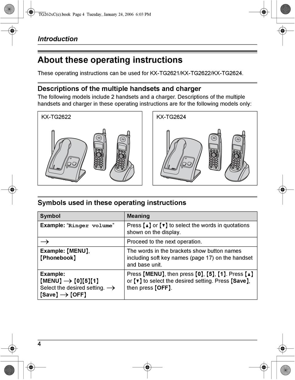Descriptions of the multiple handsets and charger in these operating instructions are for the following models only: KX-TG2622 KX-TG2624 Symbols used in these operating instructions Symbol Example: