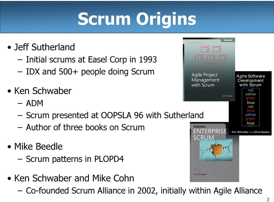 Author of three books on Scrum Mike Beedle Scrum patterns in PLOPD4 Ken Schwaber