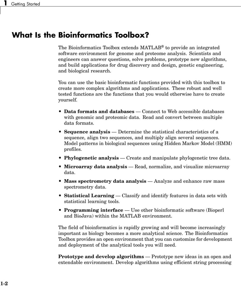 Bioinformatics Toolbox For Use with MATLAB - PDF
