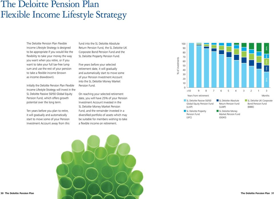 Initially the Deloitte Pension Plan Flexible Income Lifestyle Strategy will invest in the SL Deloitte Passive 50/50 Global Equity Pension Fund, which offers growth potential over the long term.