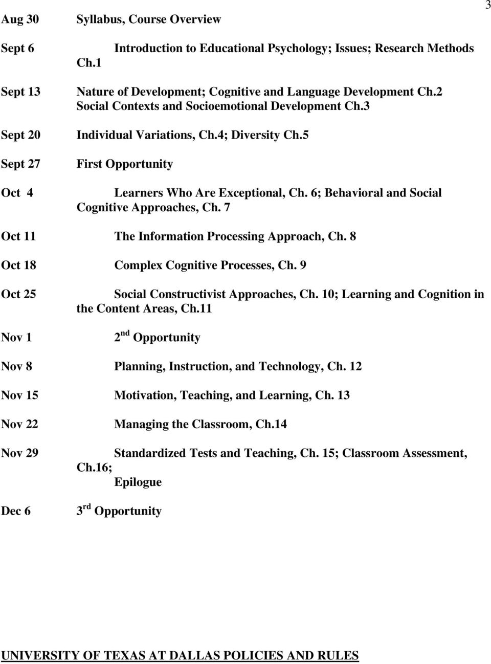 2 Social Contexts and Socioemotional Development Ch.3 Individual Variations, Ch.4; Diversity Ch.5 First Opportunity Learners Who Are Exceptional, Ch. 6; Behavioral and Social Cognitive Approaches, Ch.