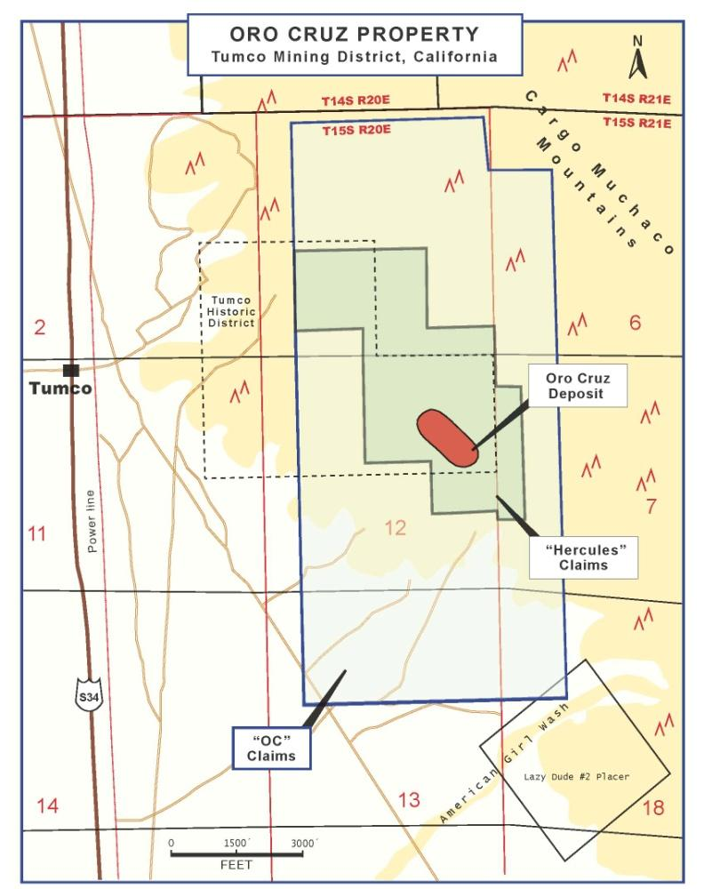 Oro Cruz Gold Claims Located in the Cargo Muchacho Mountains, part of the historic Tumco Mining District, California Of exhalite or mesothermal origin