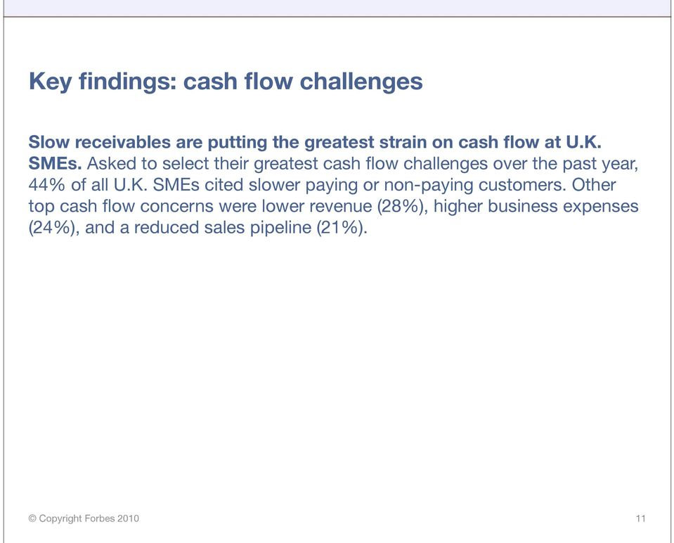 Asked to select their greatest cash flow challenges over the past year, 44% of all U.K.