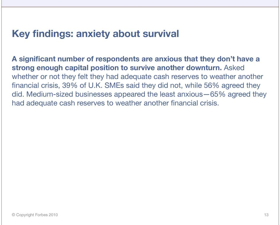 Asked whether or not they felt they had adequate cash reserves to weather another financial crisis, 39% of U.K.