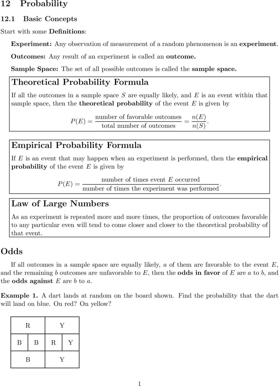 Theoretical Probability Formula If all the outcomes in a sample space S are equally likely, and E is an event within that sample space, then the theoretical probability of the event E is given by P
