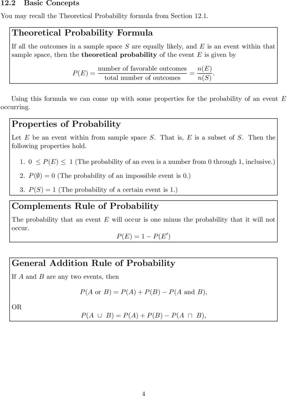 Using this formula we can come up with some properties for the probability of an event E occurring. Properties of Probability Let E be an event within from sample space S. That is, E is a subset of S.