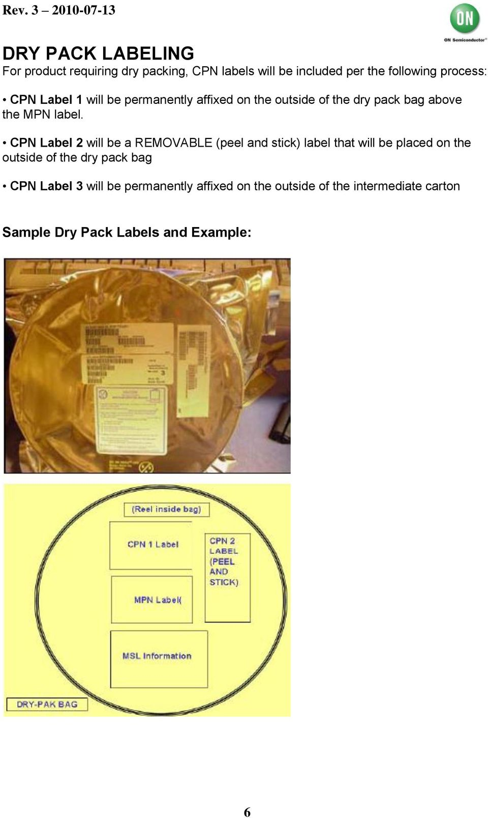 CPN Label 2 will be a REMOVABLE (peel and stick) label that will be placed on the outside of the dry pack