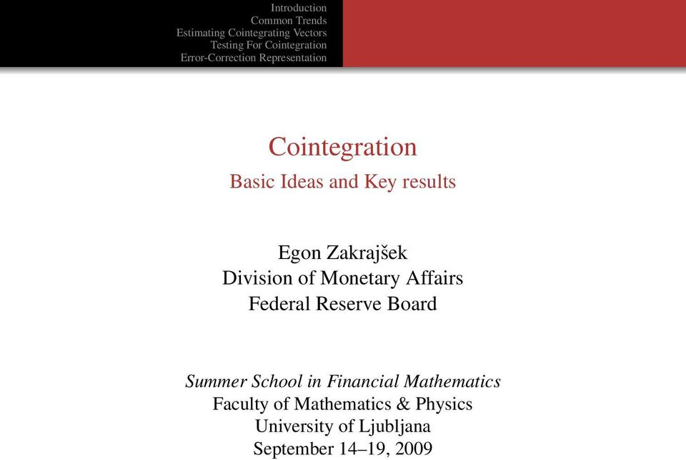 Summer School in Financial Mathematics Faculty of