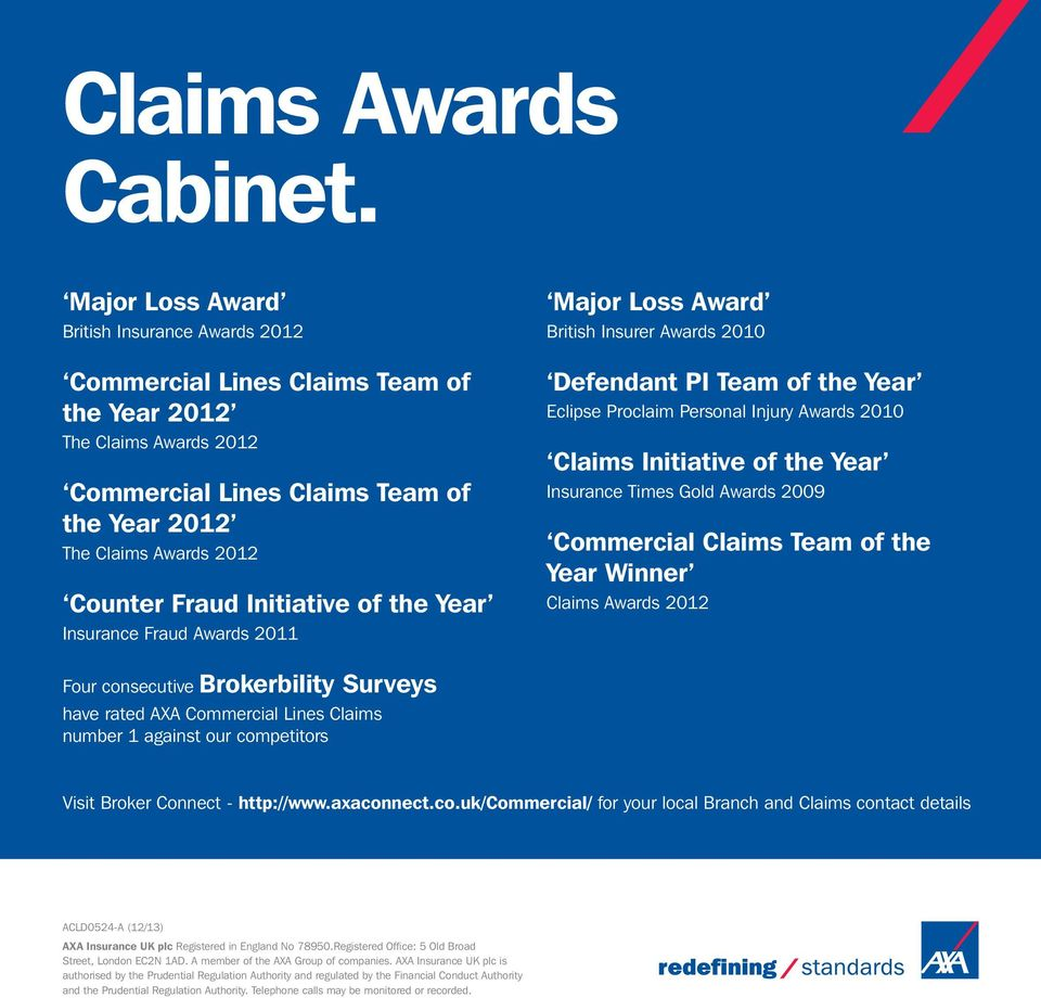 Initiative of the Year Insurance Fraud Awards 2011 Major Loss Award British Insurer Awards 2010 Defendant PI Team of the Year Eclipse Proclaim Personal Injury Awards 2010 Claims Initiative of the