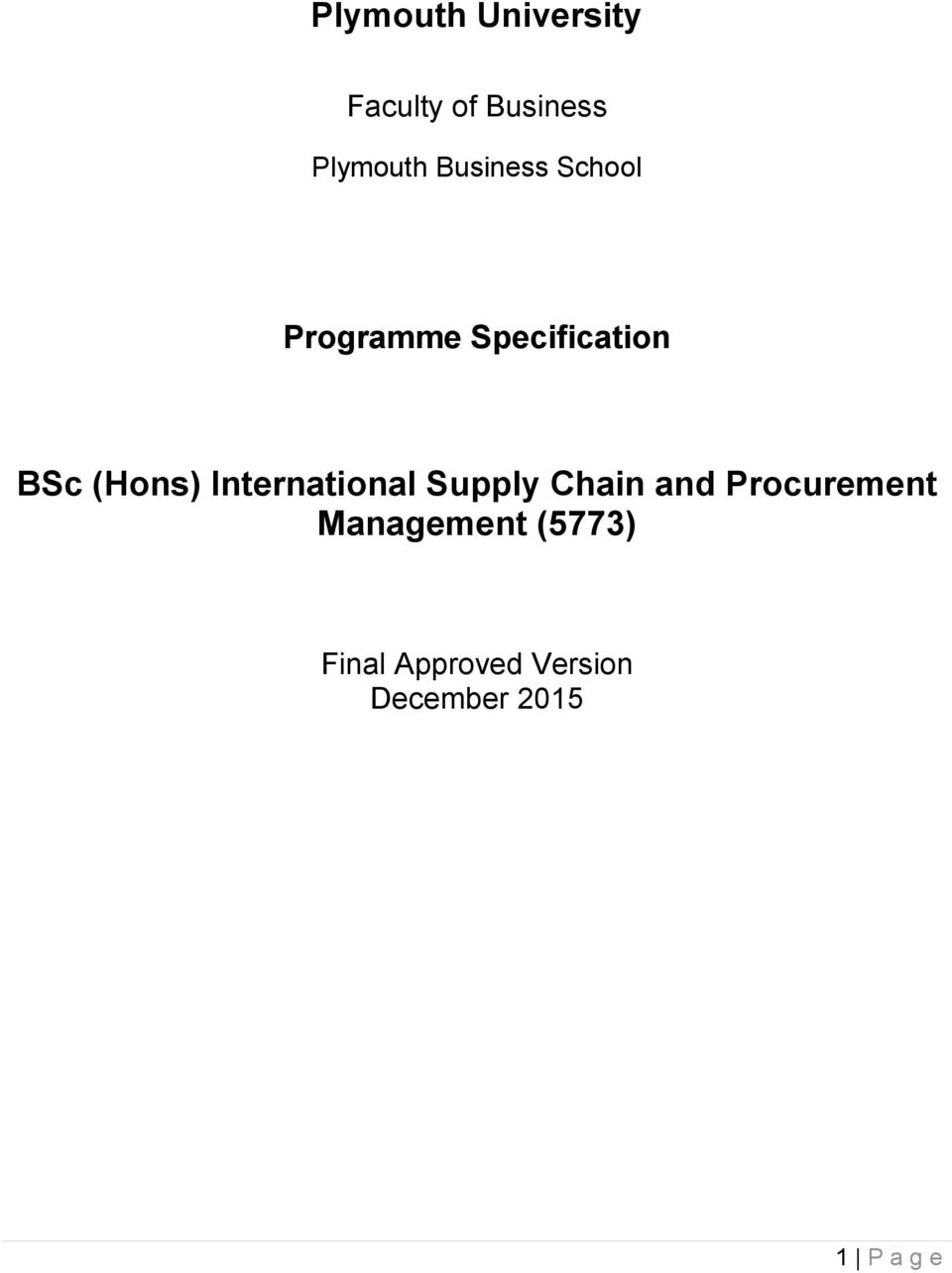 International Supply Chain and Procurement