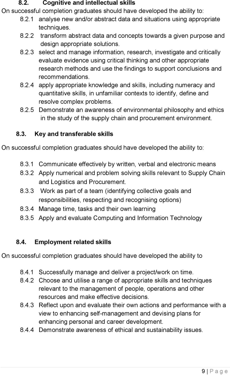 and recommendations. 8.2.4 apply appropriate knowledge and skills, including numeracy and quantitative skills, in unfamiliar contexts to identify, define and resolve complex problems. 8.2.5 Demonstrate an awareness of environmental philosophy and ethics in the study of the supply chain and procurement environment.