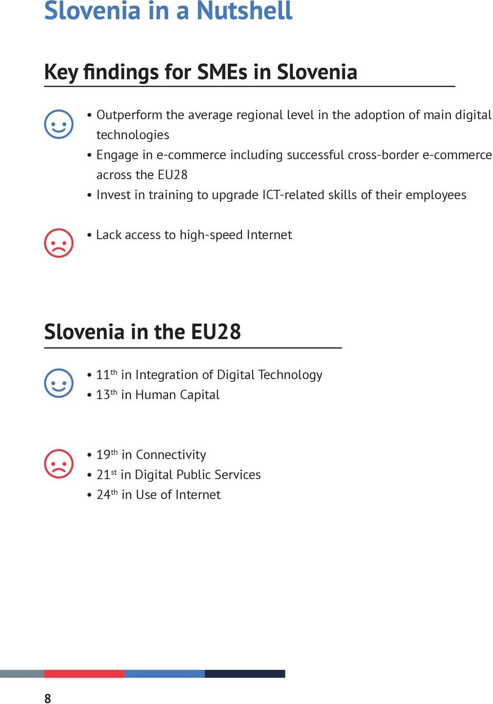 to upgrade ICT-related skills of their employees Lack access to high-speed Internet Slovenia in the EU28 11 th in