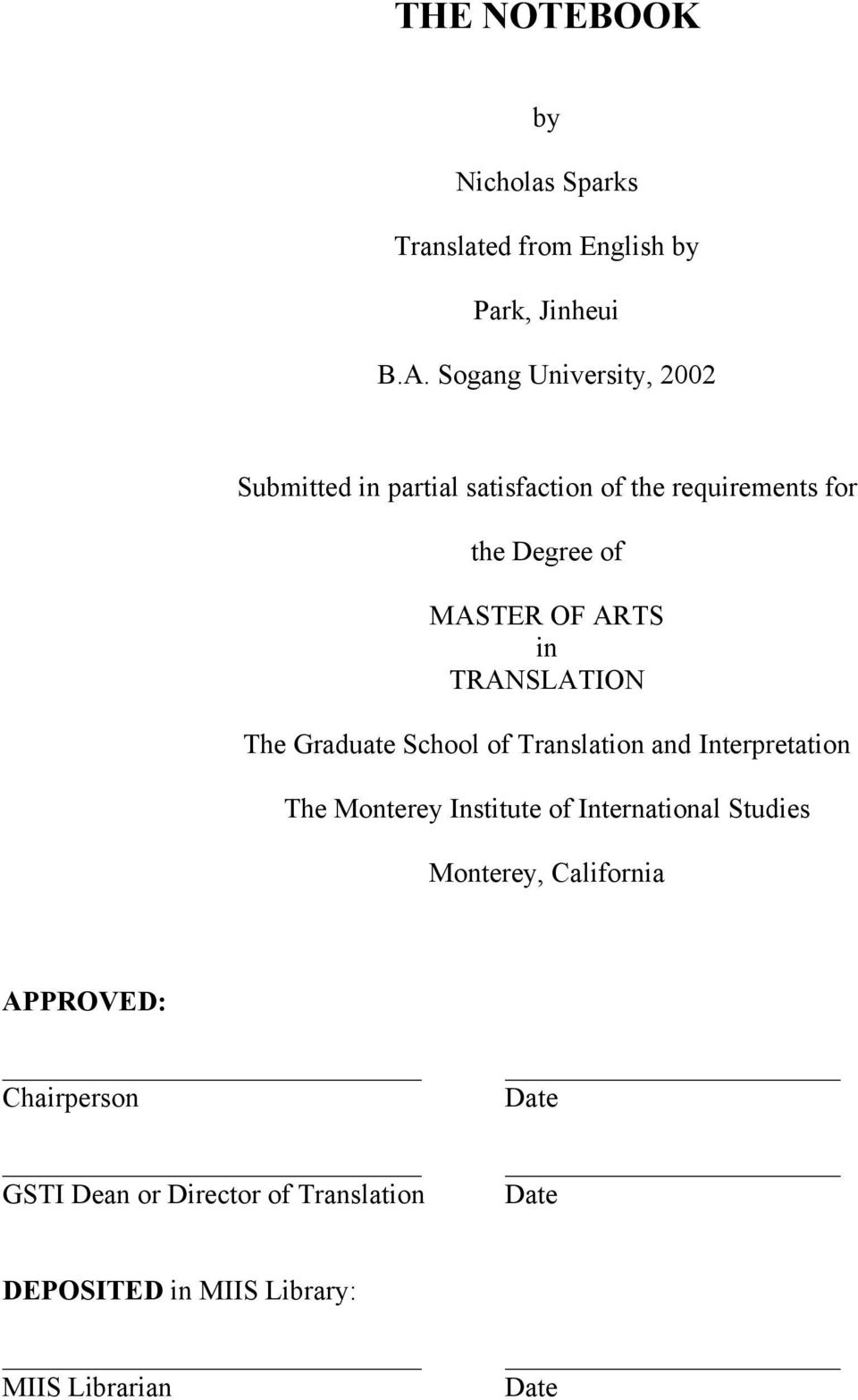 Translation and interpretation thesis