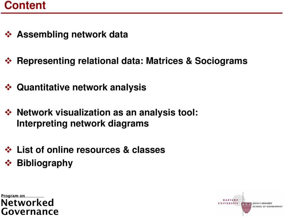 Network visualization as an analysis tool: Interpreting