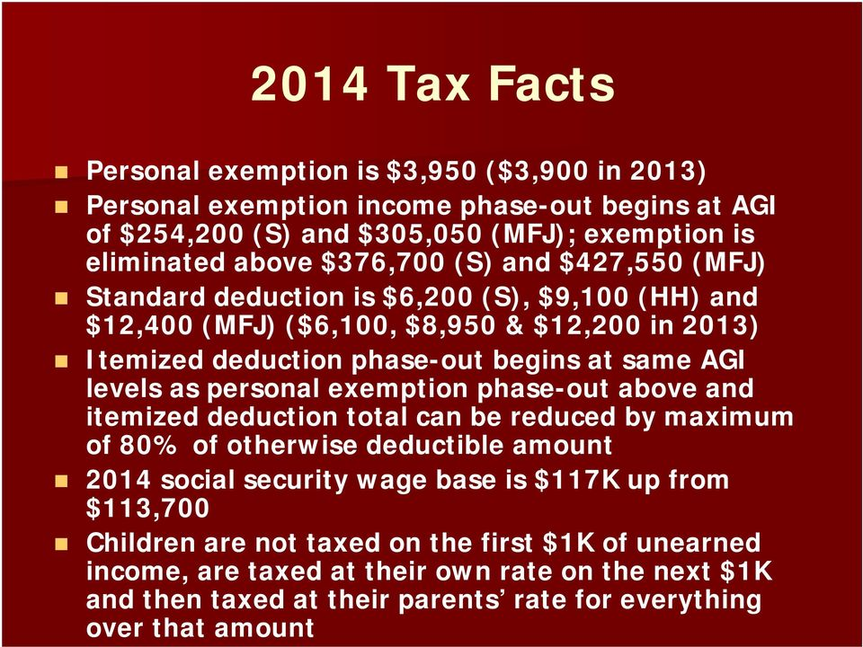 levels as personal exemption phase-out above and itemized deduction total can be reduced by maximum of 80% of otherwise deductible amount 2014 social security wage base is $117K up