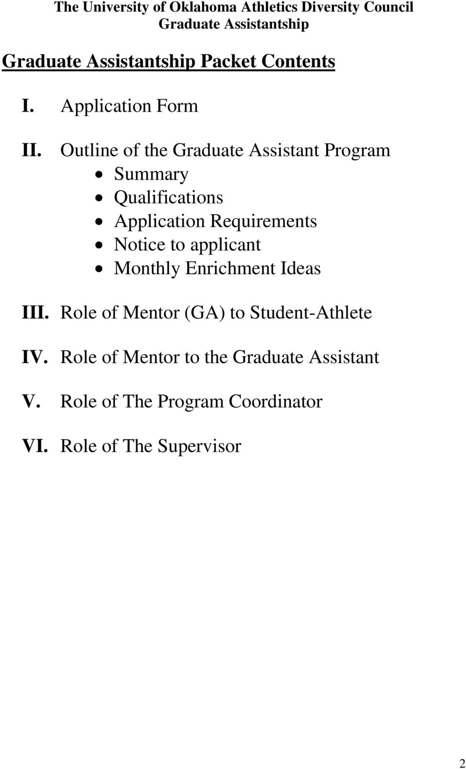 Requirements Notice to applicant Monthly Enrichment Ideas III.