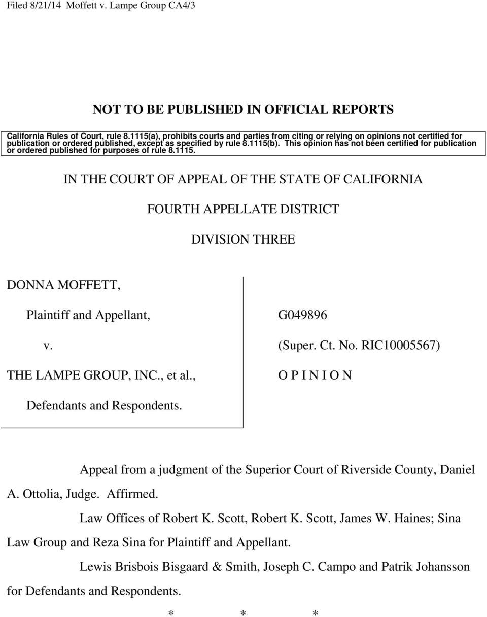 Not To Be Published In Official Reports In The Court Of