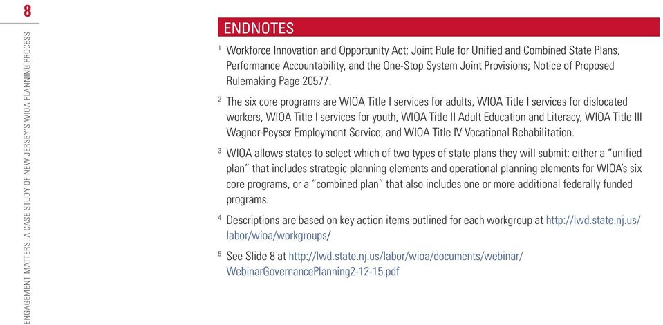2 The six core programs are WIOA Title I services for adults, WIOA Title I services for dislocated workers, WIOA Title I services for youth, WIOA Title II Adult Education and Literacy, WIOA Title III