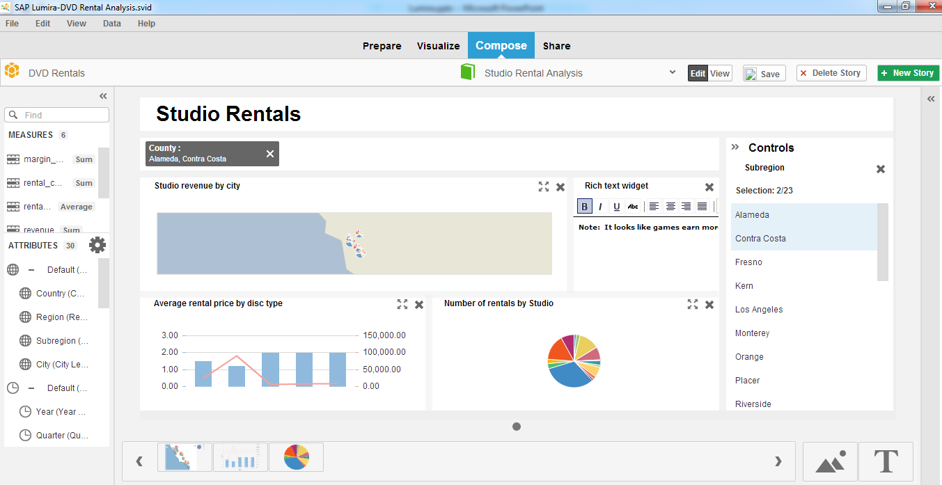 SAP Lumira SAP Lumira delivers beautiful analytics, allowing you to easily convey and share knowledge.