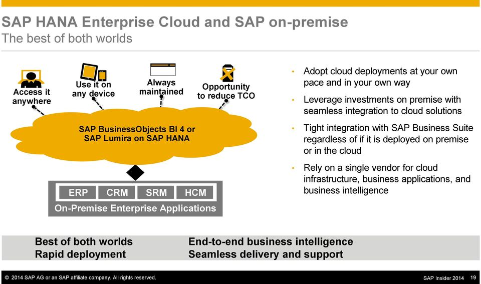 cloud solutions Tight integration with SAP Business Suite regardless of if it is deployed on premise or in the cloud Rely on a single vendor for cloud infrastructure, business applications,