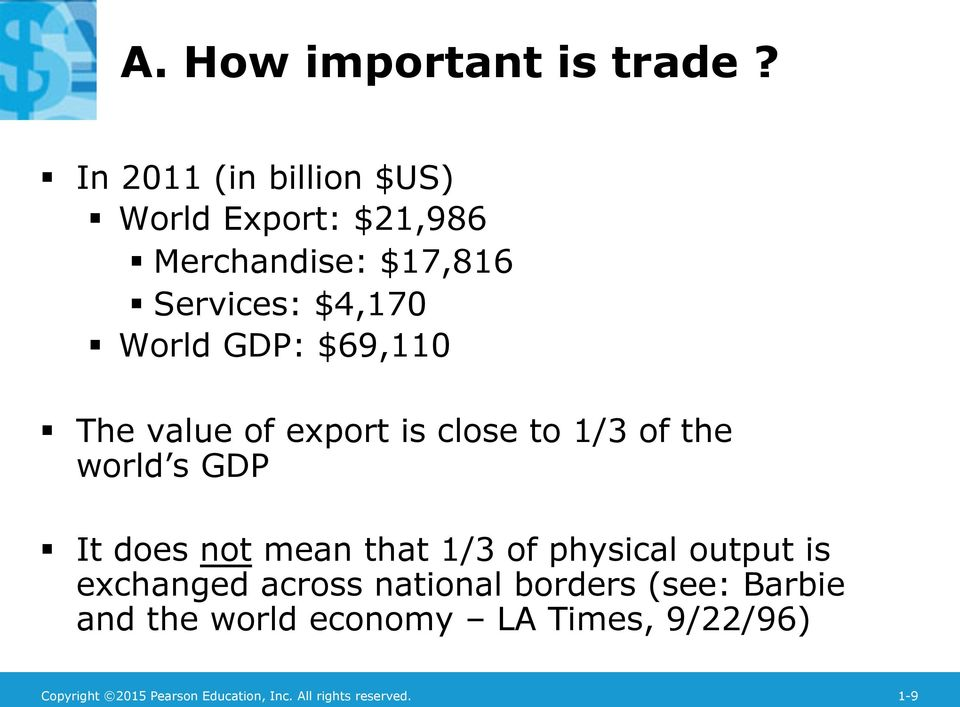 $69,110 The value of export is close to 1/3 of the world s GDP It does not mean that 1/3 of