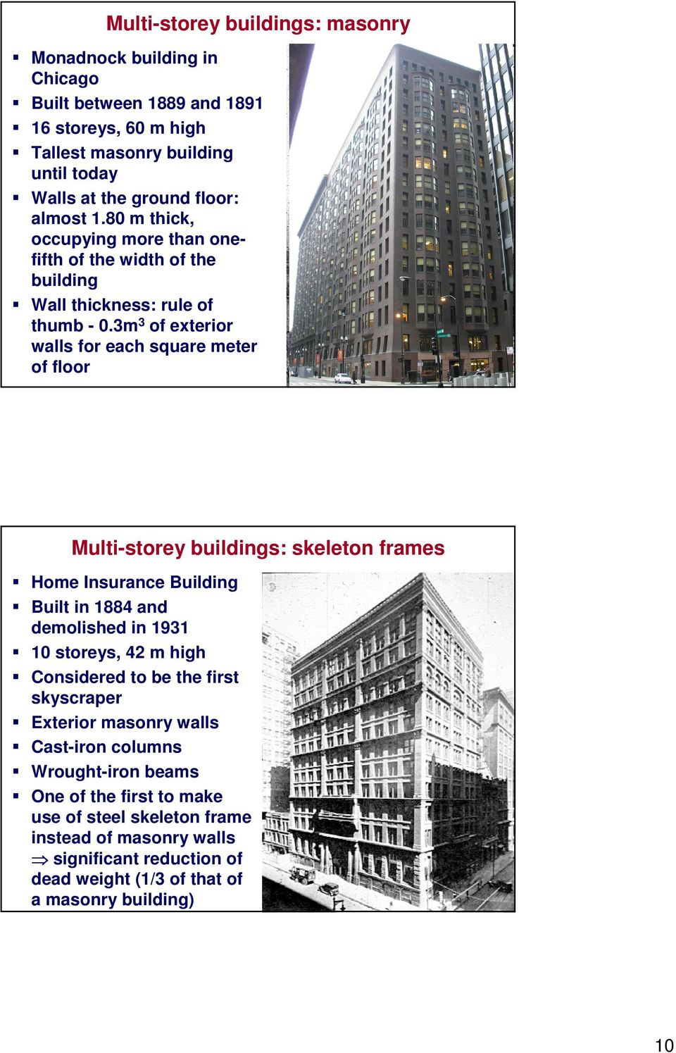 3m 3 of exterior walls for each square meter of floor Multi-storey buildings: skeleton frames Home Insurance Building Built in 1884 and demolished in 1931 10 storeys, 42 m high