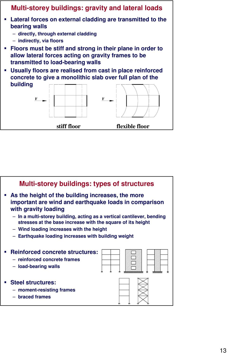 give a monolithic slab over full plan of the building F F stiff floor flexible floor Multi-storey buildings: types of structures As the height of the building increases, the more important are wind