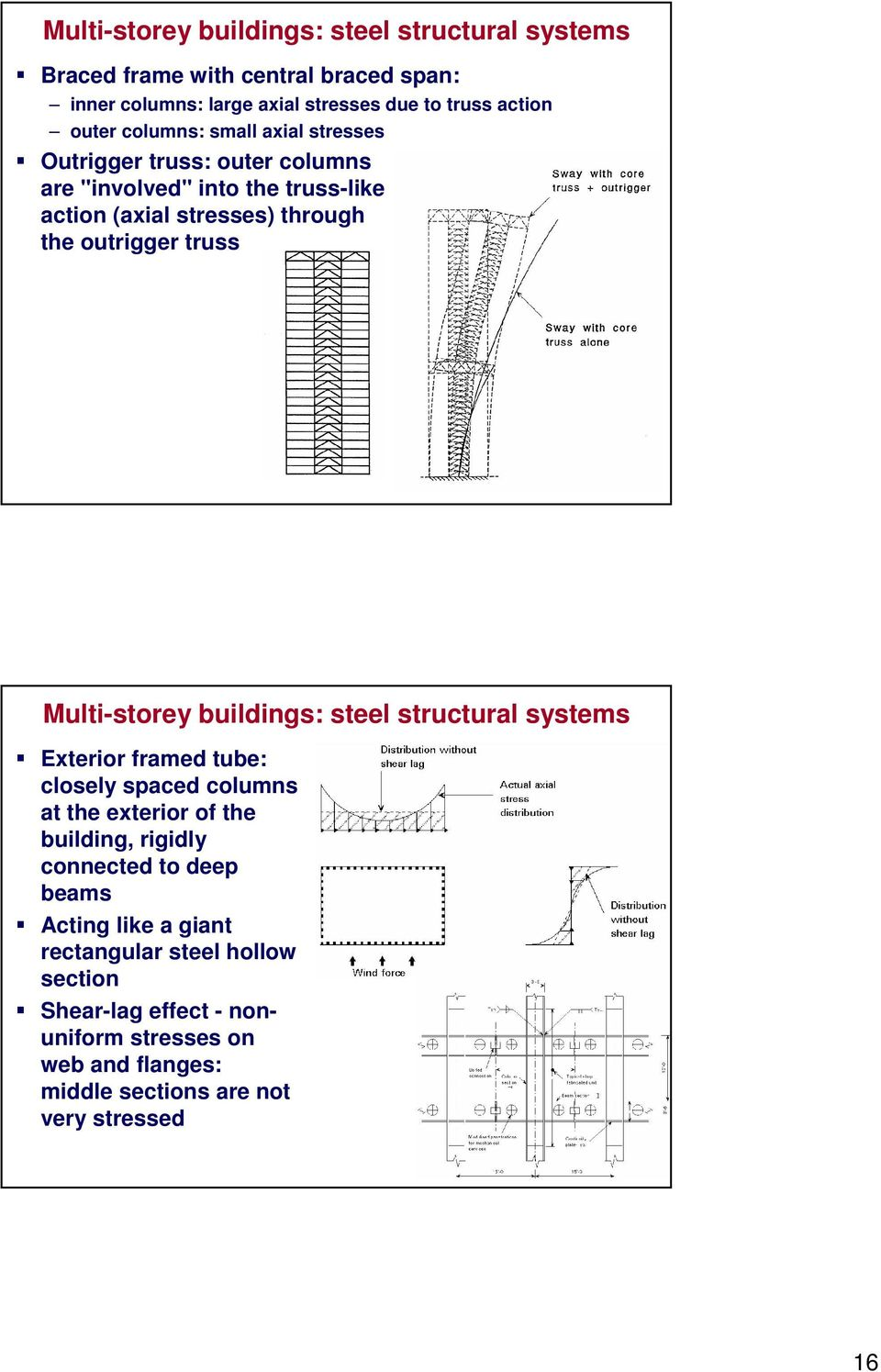 Multi-storey buildings: steel structural systems Exterior framed tube: closely spaced columns at the exterior of the building, rigidly connected to deep