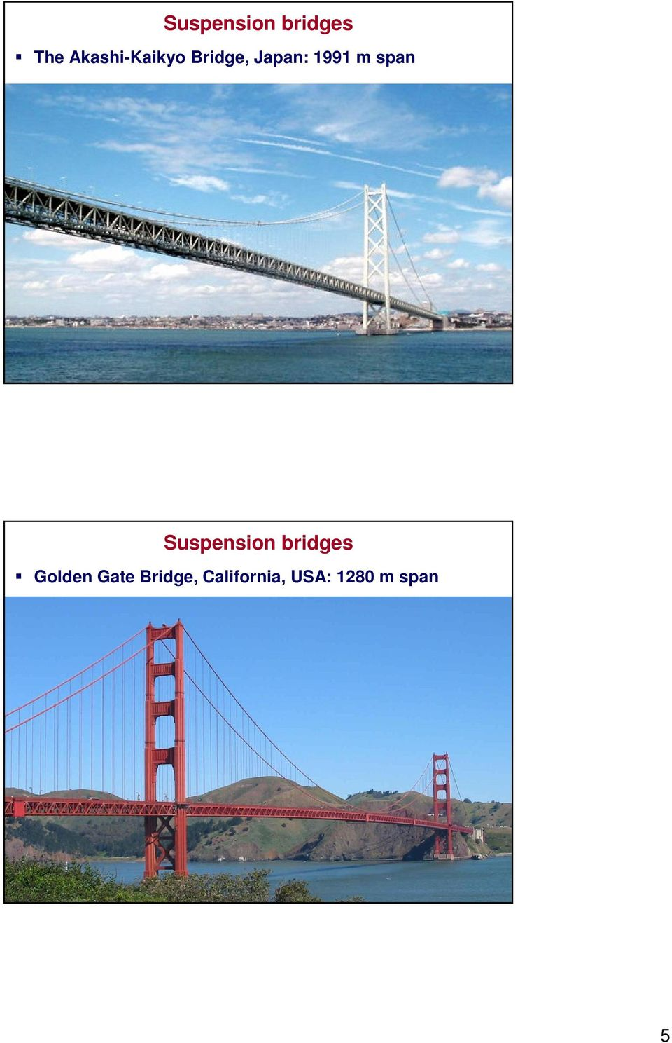 m span Suspension bridges Golden