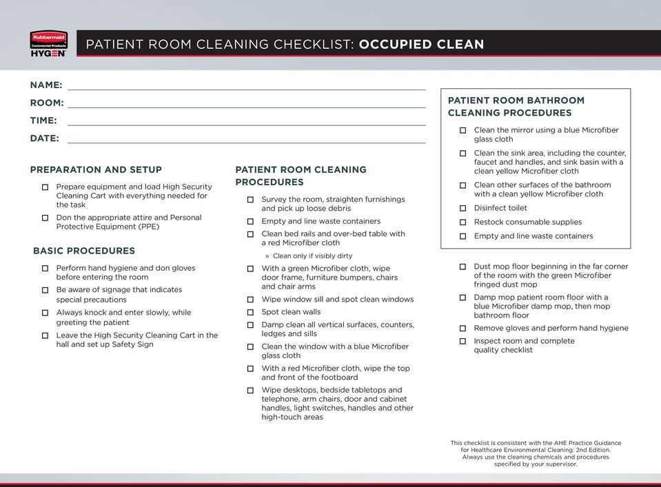 window with a blue Microfiber With a red  wipe the top and front of the. PATIENT ROOM CLEANING CHECKLIST  TERMINAL CLEAN   PDF